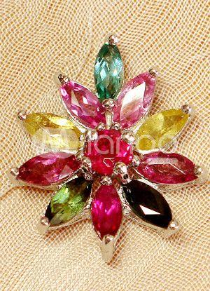 Sweet fleur en forme de pendentif en argent pierre précieuse pour les femmes: