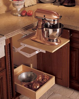 Storage for kitchen aid. I want this for when I'm too old to lug mine out of the pantry!:
