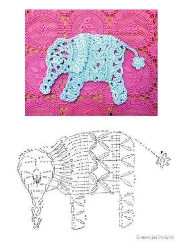Crochet Elephant Applique Pattern: