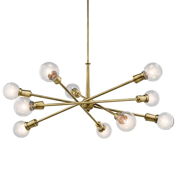 Kichler Armstrong 8 & 10 Light Chandelier - Brass | Sputnik | Chandeliers | Lighting | Candelabra, Inc.