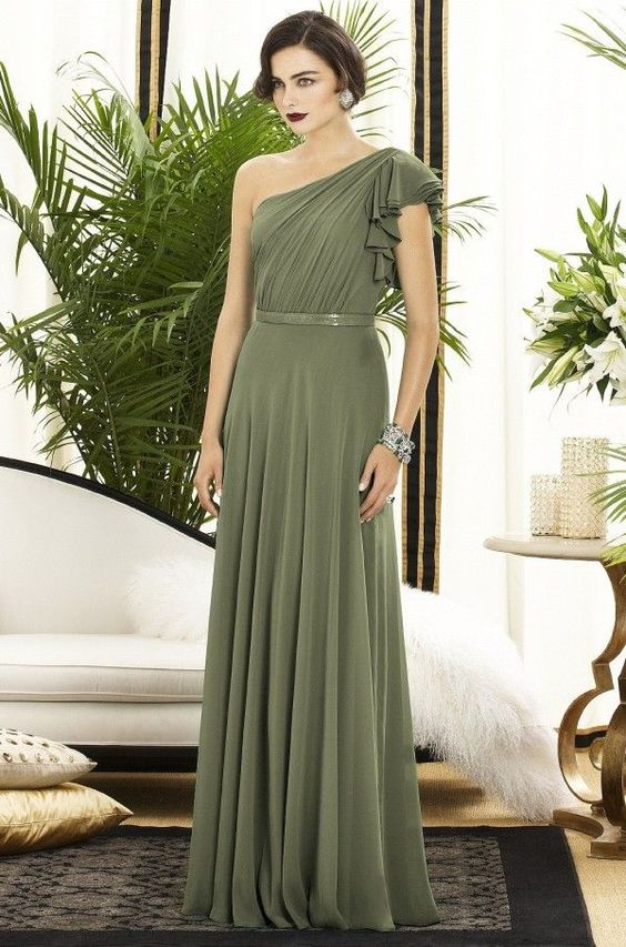 Olive green wedding olive green bridesmaid dress matri for Olive green wedding dresses