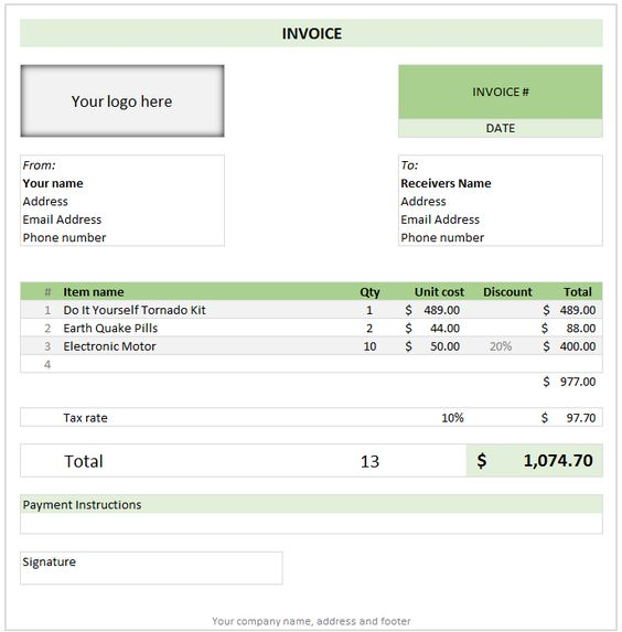Download a free Invoice Template for Microsoft Word For people - invoice for business
