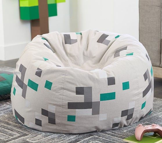 Minecraft Pixel Anywhere Beanbag Pottery Barn Kids In 2020 Minecraft Bedroom Decor Bean Bag Chair Kids Grey Leather Dining Chair