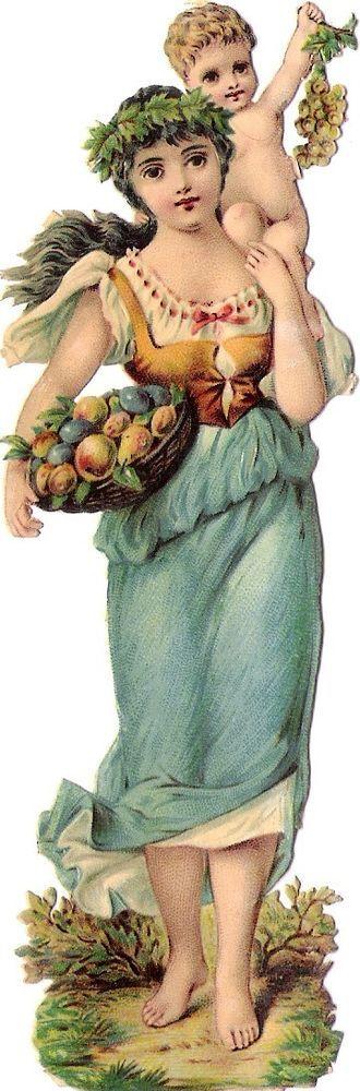 Oblaten Glanzbild scrap die cut Dame  14cm Herbst lady autumn baby Jahreszeit 3:
