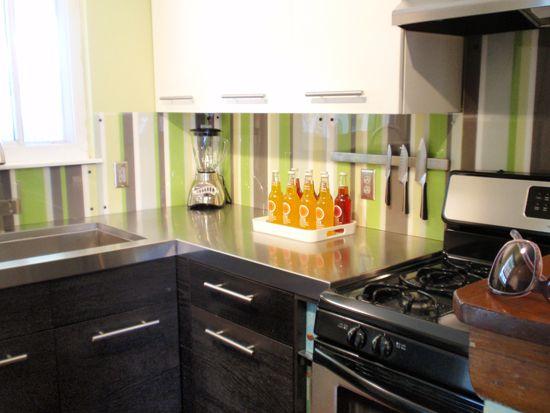 painted plexiglass backsplash kitchen inspiration
