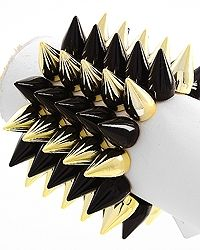 Amp up any look with this attention getting spiked bracelet. Bold and funky, it makes a statement at every outing. $10.99