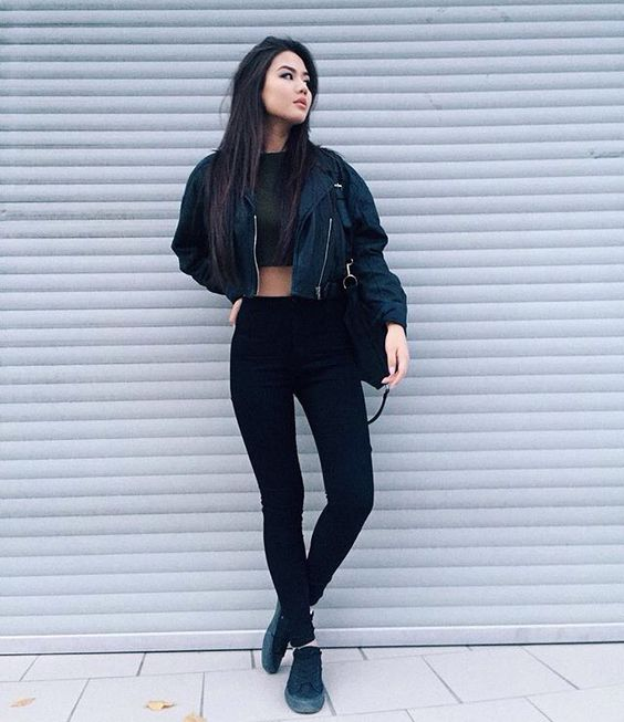 Pinterest: @barbphythian || every day look | ootd all black | edgy, bomber jacket: