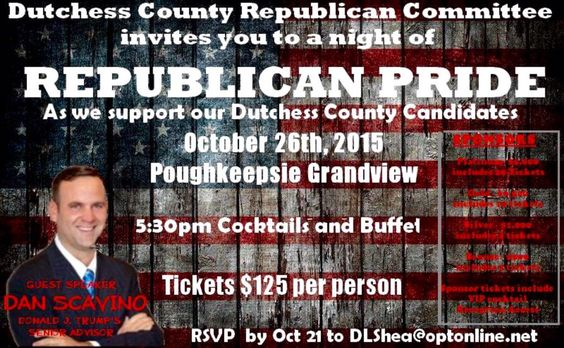 I look forward to supporting the Dutchess County, New York #GOP on 10/26/2015 as a guest speaker. #Republicans