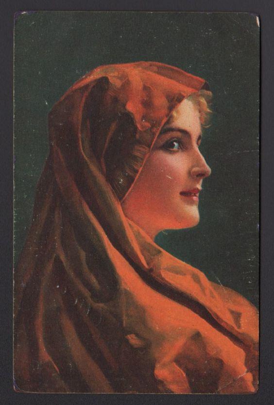 Wilhelm Hunger Marga Woman Orange Portrait Stengel Dresden 29470 Art Postcard | eBay