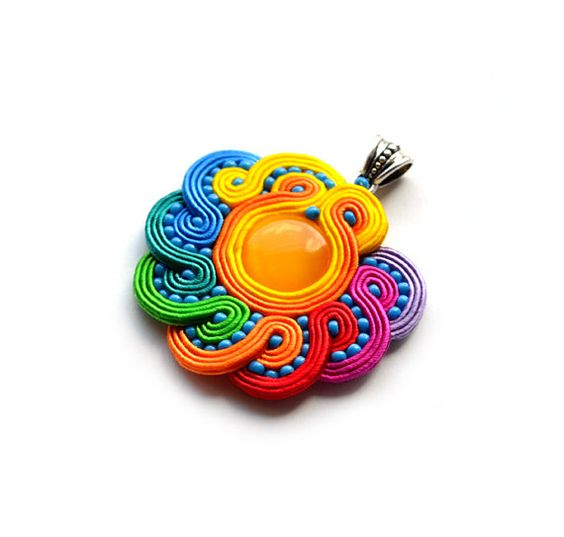 Hey, I found this really awesome Etsy listing at https://www.etsy.com/listing/193573669/rainbow-multicolor-soutache-pendant