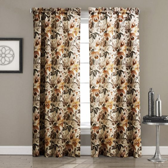 Find More Curtains Information about Twopages ( One Panel)  Contemporary Country Autumn Ink Painting Style Blossoms Floral Curtain  Custom Size and Top Construction,High Quality Curtains from TwoPages HomeFashion on Aliexpress.com