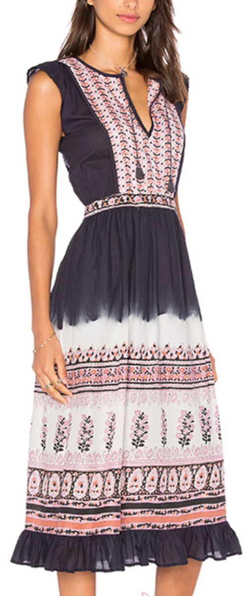 Peasant-Style Navy Dress With Pink and White Floral Accents