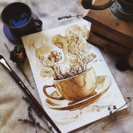 Drawing by coffee only. My new experiment.☕ Кофейная #артосень для @artkvartal ! Мой новый эксперимент. Нарисовано только при помощи кофе. Скоро покажу процесс, а пока могу сказать, что трудности работы с