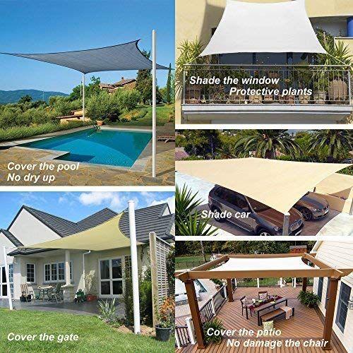 Coconut Rectangle Sun Sail Canopy 8 X 10 Ft Heavy Duty Shade Cloth Outdoor Patio Cover Uv Block Sunshade Fabric Awning She In 2020 Shade Sail Pergola Shade Patio Shade