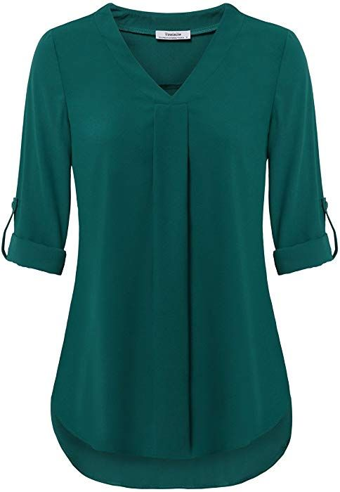 Fashion Womens Pleated Blouse Funic Spring V Neck Solid Color Long Sleeve T-Shirt Tops