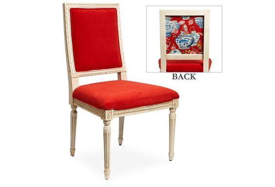 Louis Side Chair, Pimento Velvet