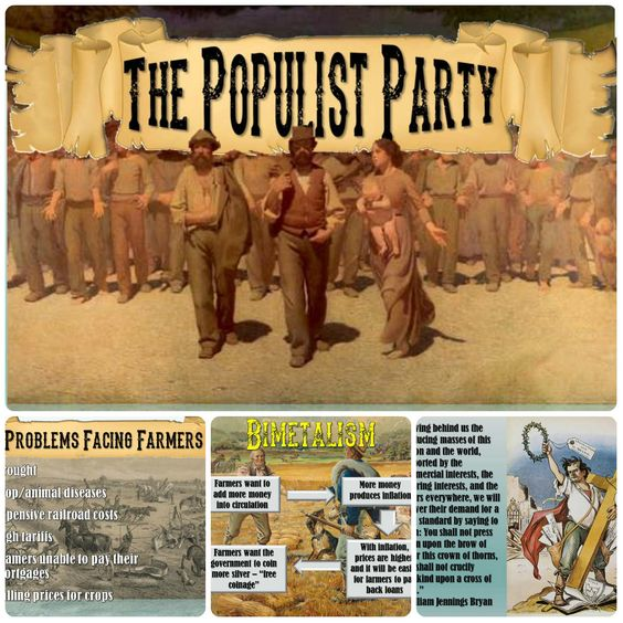 formation of the populist party It was a political party made up of farmers who wanted tariff reform, a graduated income tax, regulation of railroads, the use of silver money, and.