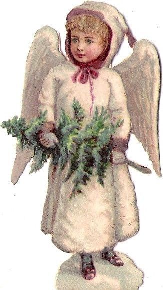 Oblaten Glanzbild scrap diecut Engel  7,5cm angel Winter Weihnachten XMAS MICA:
