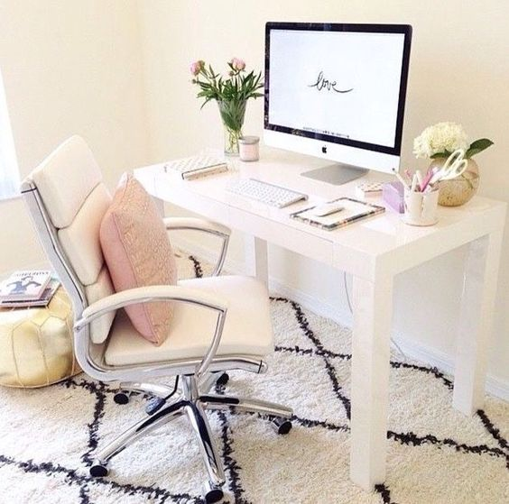 Simple but beautiful. Feminine office space.
