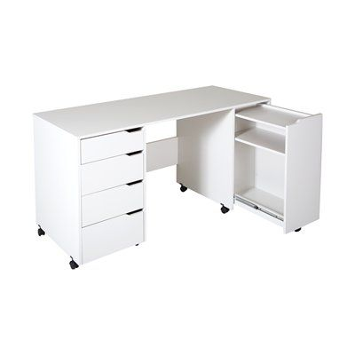Shop South Shore Furniture Crea Sewing Craft Table On Wheels At Lowe S Canada Find Our Selection Of C Craft Tables With Storage Sewing Craft Table Craft Table