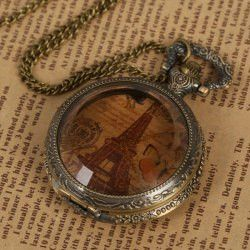 Retro Pocket Watch with Iron Tower Patterned 12 Rome Number Hour Marks Round Dial (Coppery)