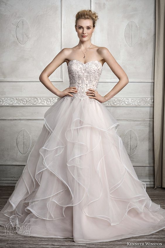 kenneth winston fall 2016 bridal strapless sweetheart neckline heavily embellished bodice tiered skirt horsehair princess blush color a line wedding dress chapel train (1688) mv