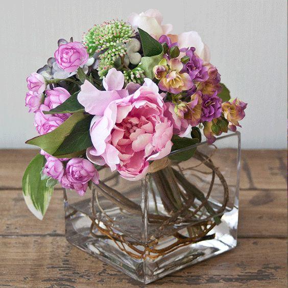 Arreglo en bouquet con rosas kalanchoes y hortensias de - Como cuidar una hortensia de exterior ...
