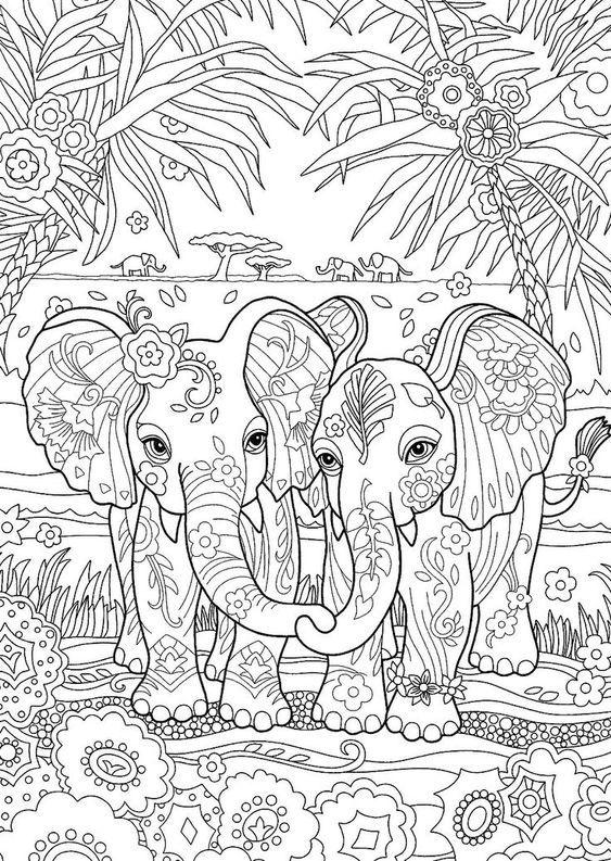 9894k2l141ykk42l34y Two Cute Elephants Coloring Page Elephant