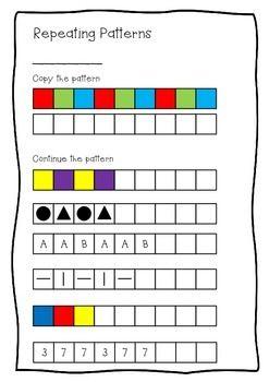 Repeating Patterns Worksheet - Kindergarten, Prep and Reception ...
