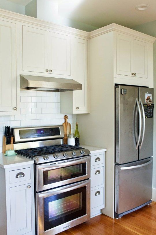 Fridge Small Cabinets And Right Next To The Stove For Easy Use Loves It