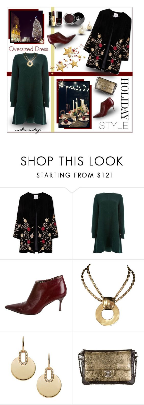 """Holiday Style: Oversized Dress"" by stardustnf ❤ liked on Polyvore featuring Trilogy, MANGO, Proenza Schouler, Gucci, Robert Lee Morris, Michael Kors, Chanel, holidaystyle, clutchcrush and fearlesscrew"