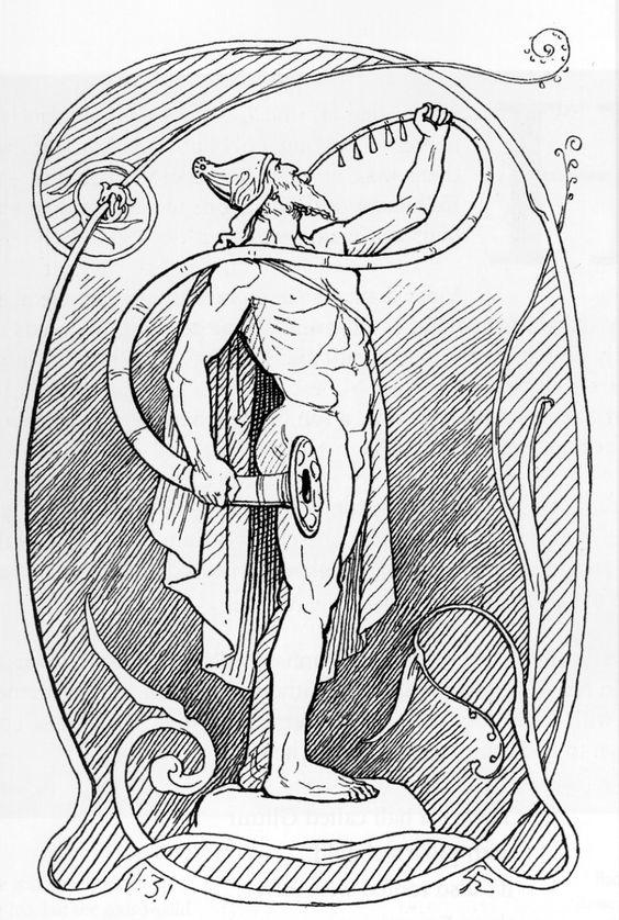 Heimdallr blows Gjallarhorn in an 1895 illustration by Lorenz Frølich
