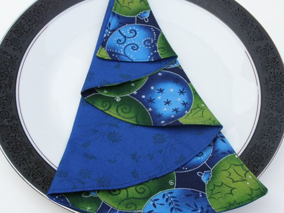 Blue Christmas Dinner Napkin Christmas Tree by TheScrapBasket, $4.99