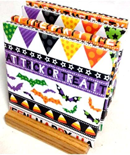 """Custom & Cool {4.25"""" Inches} Set Pack of 4 Square """"Flat & Smooth Texture"""" Large Drink Cup Coaster Made of Ceramic w/ Cork Bottom & Halloween Party Design [Colorful Purple, Orange & Green] mySimple Products"""