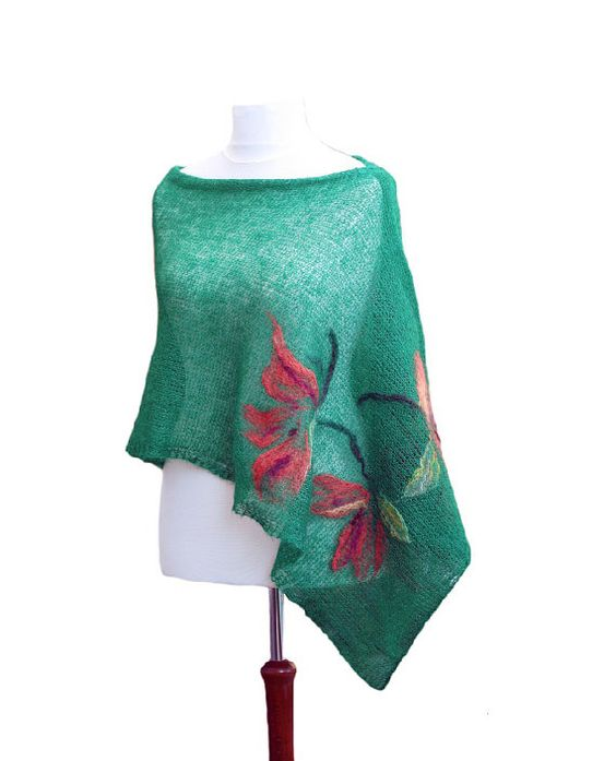 Green hand knitted shawl scarf made with by KFbyMalgorzataDrozd