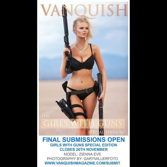 """@vanquishmagazine - Final Submissions are Open for our """"Girls with Guns Special Edition"""" Models & Photographers spread the word and get your girls with guns set in quickly! :) <3 Bond Girl type photos have top priority we will also allow some cosplay type gun photos depending on the theme & quality. Submissions Close 26th Nov. http://www.vanquishmagazine.com/submit. Issue Due for Release 28th. Model: @zienna_eve Photography: @garymillerfoto #girls #guns #babes #glamour #cosplay…"""