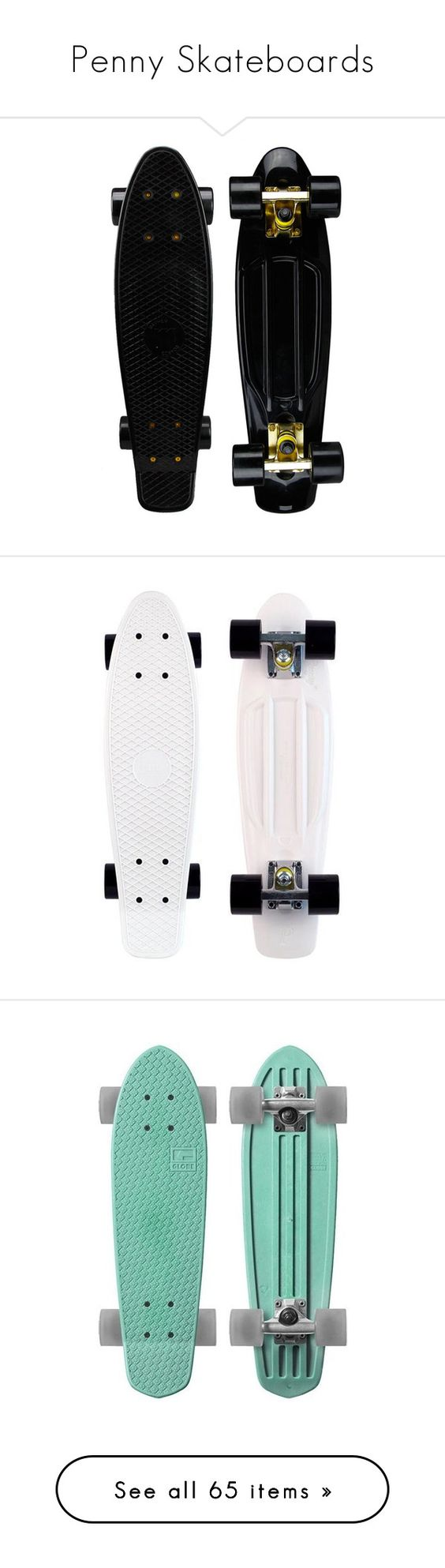 """""""Penny Skateboards"""" by janettetang ❤ liked on Polyvore featuring fillers, skateboards, accessories, black, skate, misc, backgrounds, penny boards, other and skateboard"""