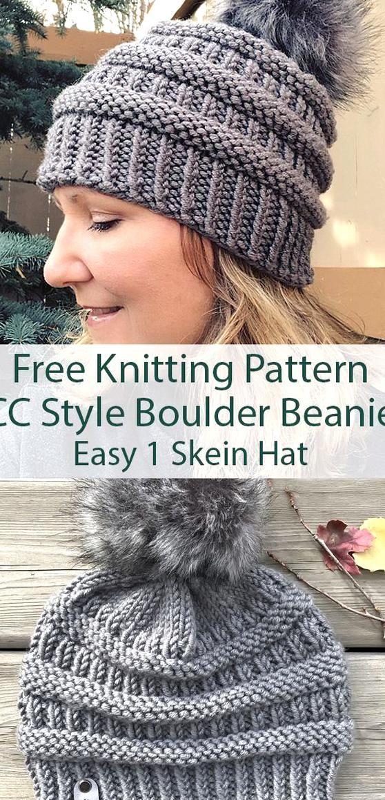 Cc Style Boulder Beanie Knit Hat Pattern Easy Hat Knitting Patterns Free Knitting Pattern