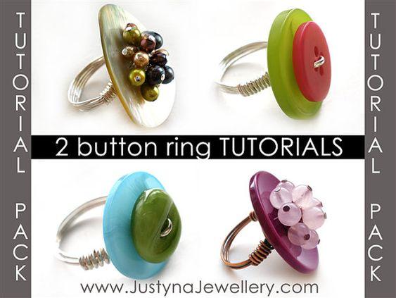 Pack de venta Tutorial anillo botón, botón joyería Tutorial, Tutorial de anillo botón, anillo Tutorial, Tutorial, paso a paso patrón de abalorios de alambre