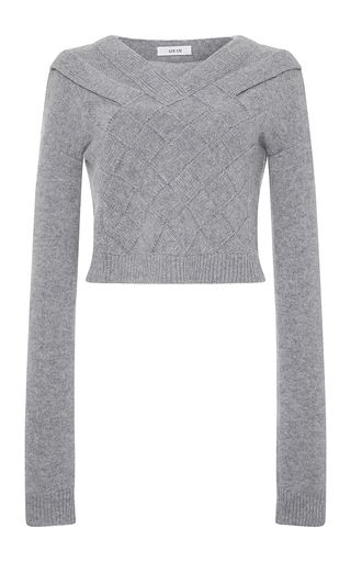 This **ADEAM** pullover features a cropped hem and a basketweave construction.