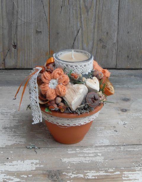 Narancs vidék - asztaldísz mécsessel, Dekoráció, Otthon, lakberendezés, Gyertya, mécses, gyertyatartó, Meska