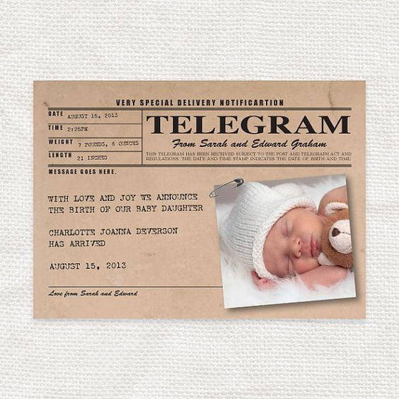 Baby birth announcement vintage telegram style printable new baby girl or boy personalized for Printable birth announcements