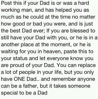 I was lucky enough to be blessed with two of the best dad's EVER!! Also my children are blessed with a GREAT dad! Dad's can not be beat!!