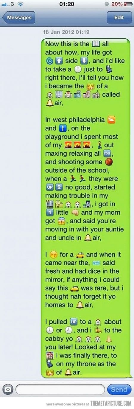 Best theme song ever, in a text xD