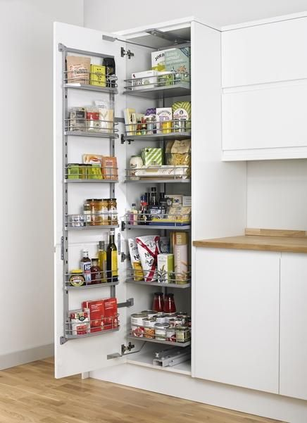Full height pull swing larder kitchen pinterest for Galley kitchen storage solutions