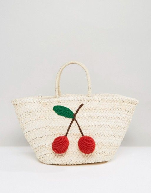 Glamorous Paper Straw Bag With Cherry Detail: