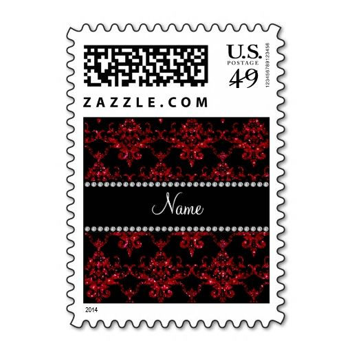 Personalized name red glitter damask postage stamp