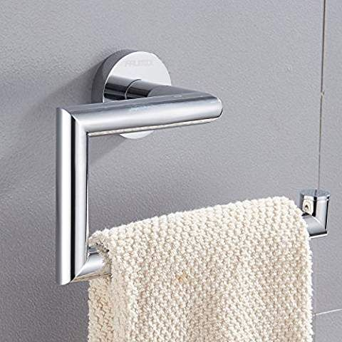 Faumix Brass Bathroom Towel Ring Wall Mount Square Open Arm Towel Holder Chrome Finish Brass Bathroom Towel Rings Bathroom Towels