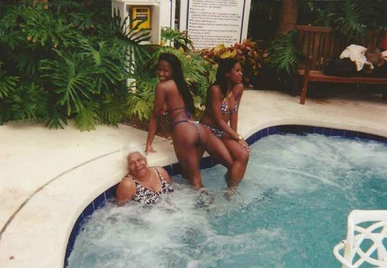 Hanging out in the jacuzzi with my mom and daughter in Fort Lauderdale Florida.