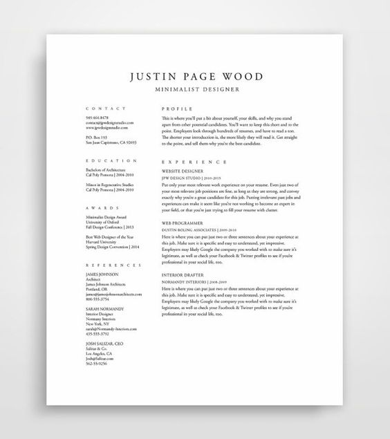 Classical, Professional Resume Template with a Two Column Format ...